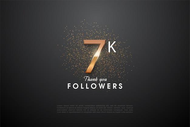 7k follower hintergrund mit einer glitzernden nummer in der mitte.