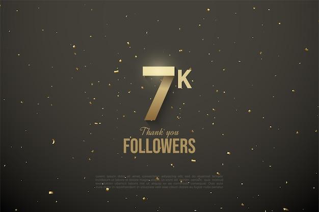7k follower hintergrund mit gemusterten zahlen.