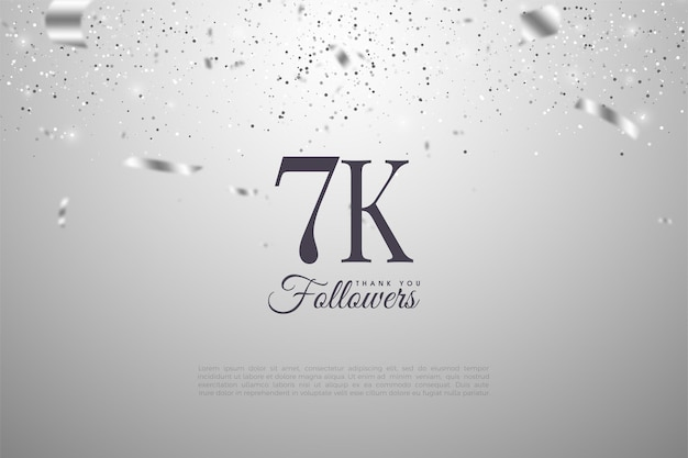 7k follower hintergrund mit glänzenden silbernen zahlen und band.