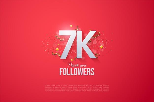 7k follower hintergrund mit schönen zahlen.
