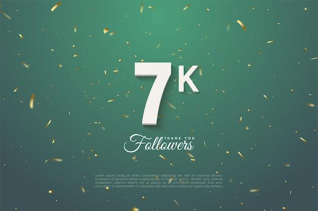 7k follower hintergrund mit zahlen auf dunkelgrünem blatthintergrund.