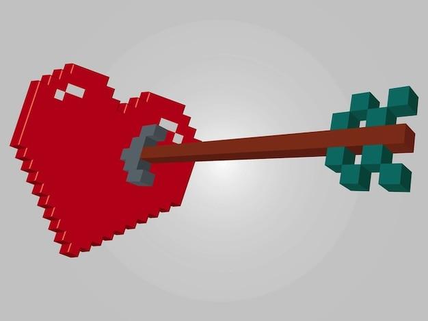8-bit-love heart arrow vektoren