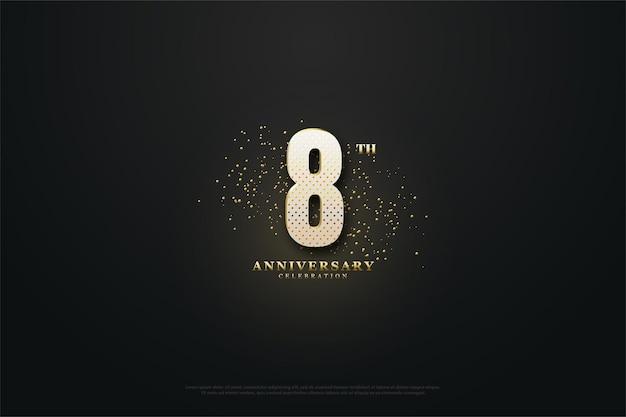 8. jubiläum mit goldenen zahlen und punkten