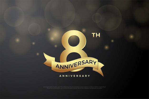 8. jubiläum mit goldener nummer und schleife