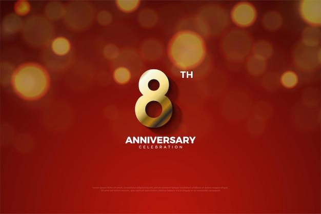 8. jubiläum mit goldener zahl und bokeh-effekt