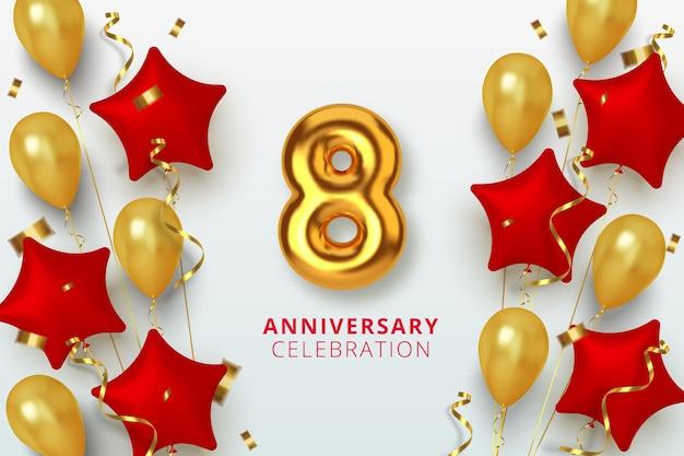 8 jubiläumsfeier nummer in form eines sterns aus goldenen und roten luftballons. realistische 3d-goldzahlen und funkelndes konfetti, serpentin.