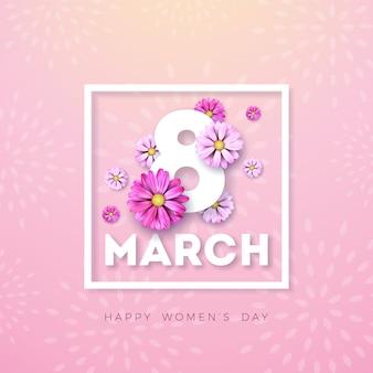 8. märz. glücklicher frauentag blumengrußkarte. internationale feiertagsillustration mit blumenentwurf auf rosa hintergrund.
