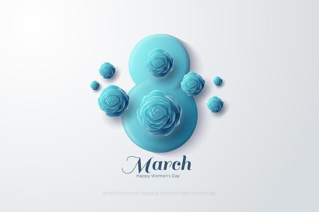 8. märz mit blauen 3d-zahlen und blauen rosen.