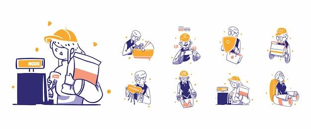 8 online-shopping, e-commerce-symbolillustration im handgezeichneten designstil. babycare karte ticket rate schutz, garantie lebensmittel lieferung kamera fotografie bezahlen zahlung sportmöbel apps store shop