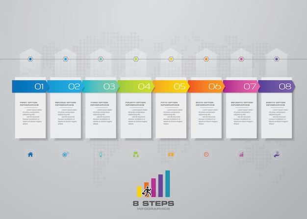 8 schritte des pfeilzeitplan infographics schablonendiagramms.