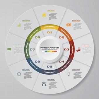8 schritte modernes kreisdiagramm infographics elemente.