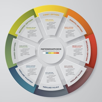8 schritte zyklus diagramm infografiken elemente.