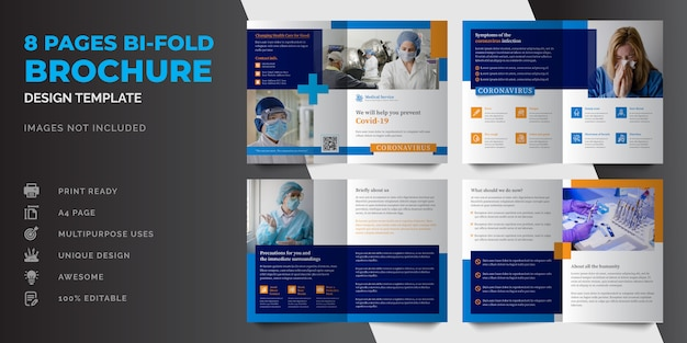 8 seiten medizinische geschäftsbroschüre oder professionelle moderne mehrzweckbroschüre designvorlage