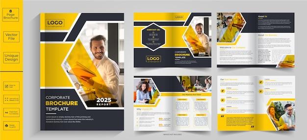 8-seitiges abstraktes broschürendesignfirmenprofil broschürendesignhalffold brochurebifold brochure