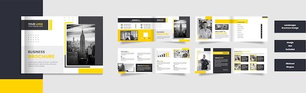8-seitiges minimales corporate landscape-broschürendesign mit minimalen formen.
