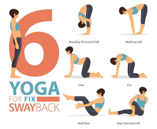 8 yoga-posen oder asana-haltung für das training im yoga für ein fixes swayback-konzept. frau, die für körperdehnung ausübt. flacher cartoon.