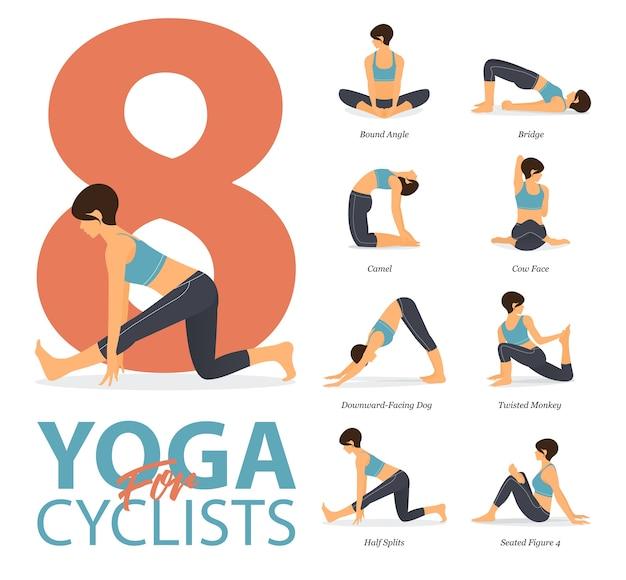 8 yoga-posen oder asana-haltung für das training im yoga für radfahrer-konzept. frau, die für körperdehnung ausübt. flacher cartoon.
