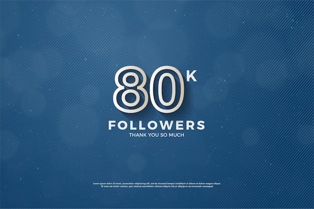 80.000 follower mit braun umrissener nummer Premium Vektoren