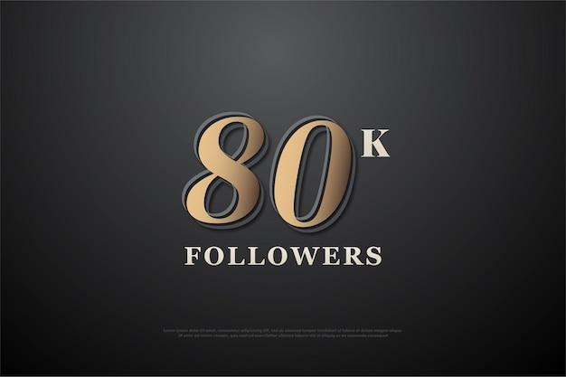 80.000 follower mit dunkelbrauner nummer