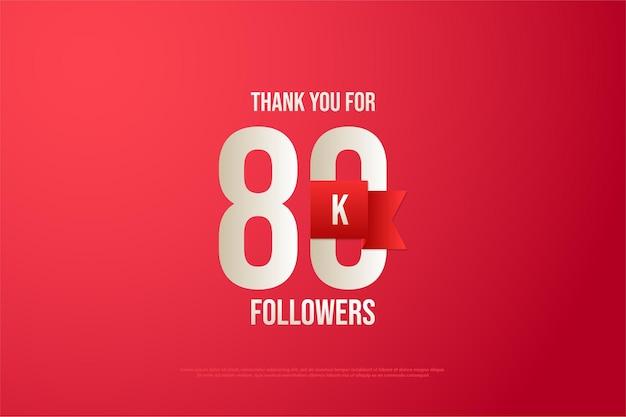 80.000 follower mit einem roten band auf der rückseite der nummer