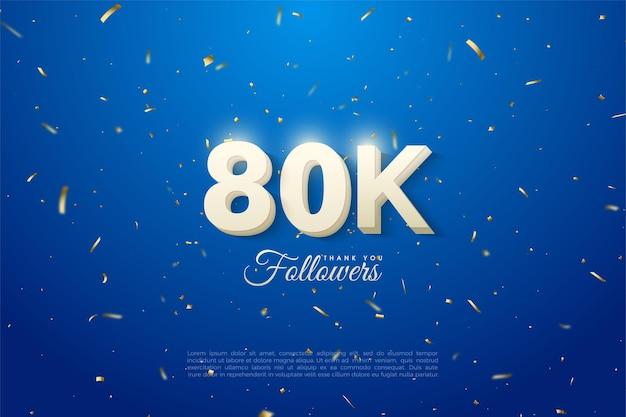 80.000 follower mit einer leuchtenden figur auf der oberseite.
