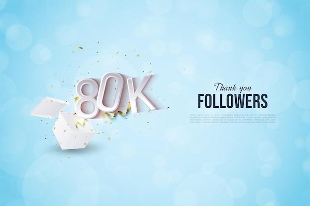 80.000 follower mit illustrierten zahlen, die aus der schockbox ausbrechen.