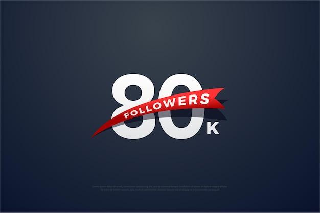 80.000 follower mit sich verjüngenden roten bildern