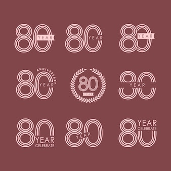 80-jähriges jubiläum-vektor-schablonen-design-illustration