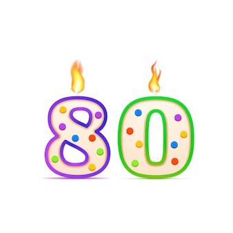 80 jahre jubiläum, 80 nummerförmige geburtstagskerze mit feuer auf weiß
