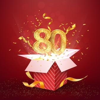 80 jahre jubiläum und offene geschenkbox mit explosionen konfetti isoliert designelement