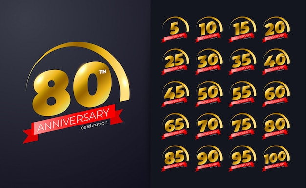 80. jubiläumsfeier design inspiration mit goldener farbe