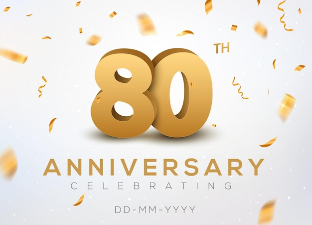 80 jubiläumsgoldzahlen mit goldenem konfetti. feier zum 80-jährigen jubiläum