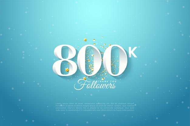 800.000 follower auf blauem himmelshintergrund