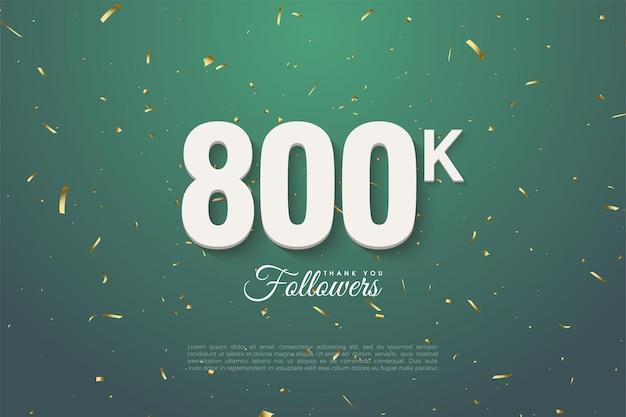800.000 follower auf dunklem blattgrünem hintergrund