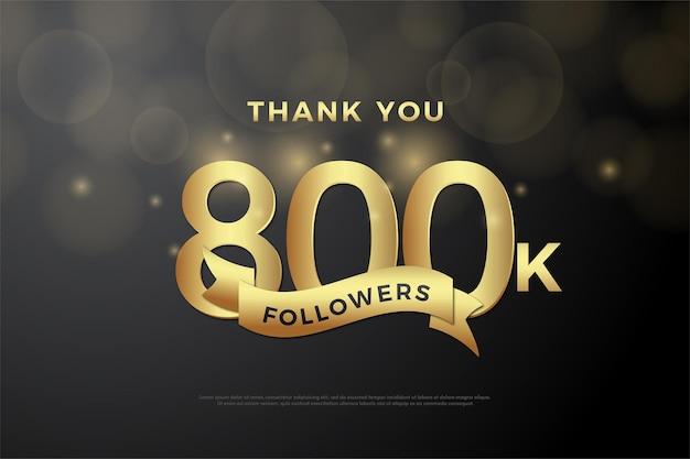 800.000 follower hintergrund mit zahlen und band