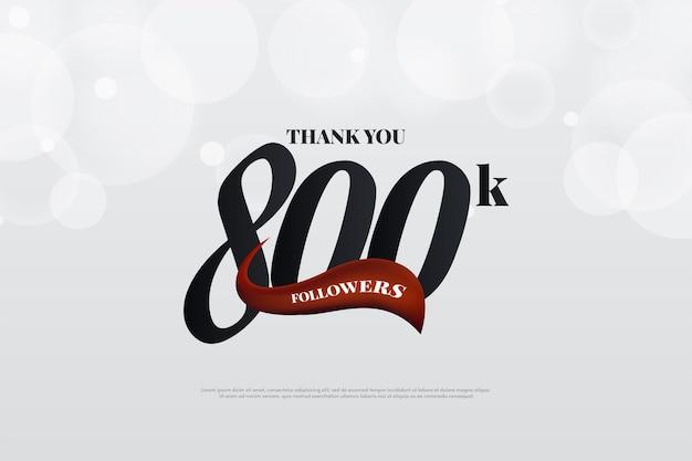 800.000 follower hintergrund mit zahlen und rotem band