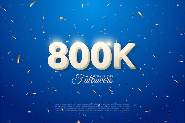 800.000 follower mit geprägten 3d-nummern Premium Vektoren