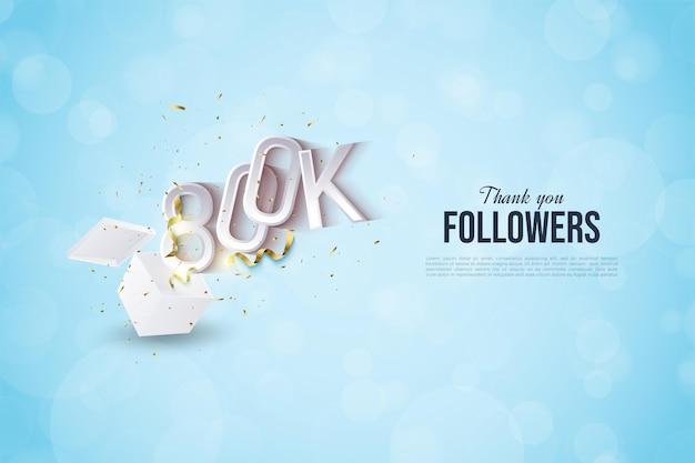 800.000 follower mit geprägten 3d-nummern