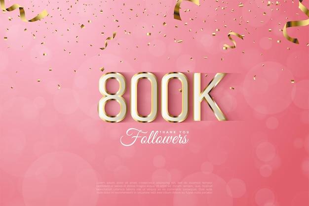 800.000 follower mit goldenen zahlen Premium Vektoren