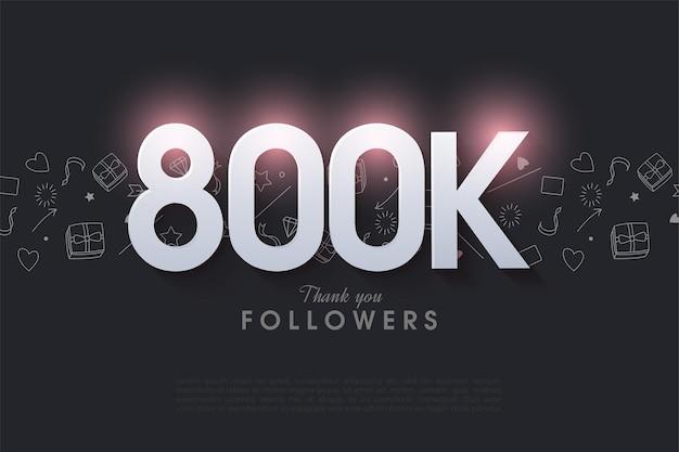800.000 follower mit leuchtenden zahlen