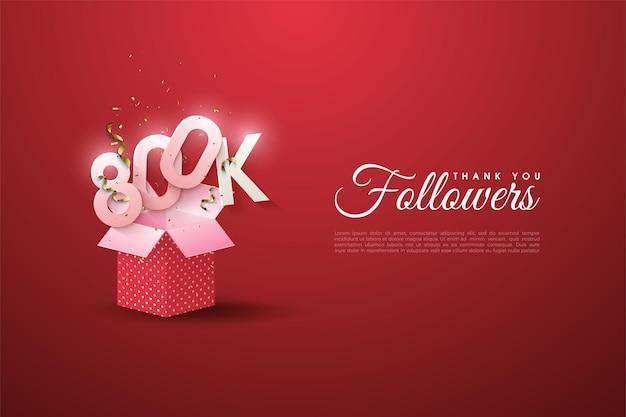 800.000 follower mit zahlen auf der geschenkbox