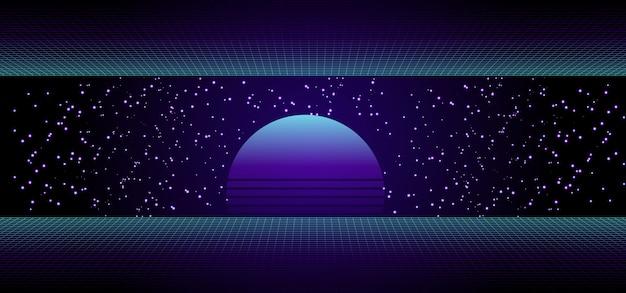 80er retro-science-fiction-banner mit sonnenaufgang oder sonnenuntergang
