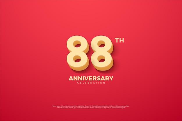 88. jahrestag mit animierten zahlen auf rosa hintergrund