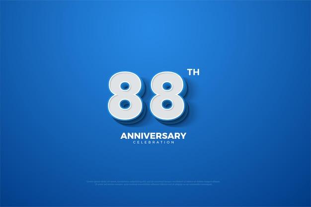 88. jubiläum mit geprägten zahlen auf blauem hintergrund