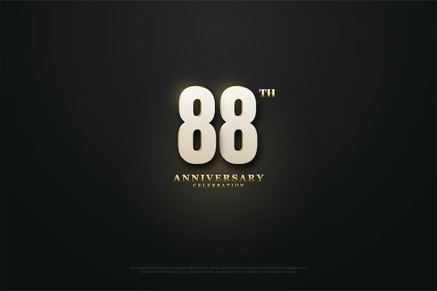 88. jubiläum mit goldenen zahlen und punkten