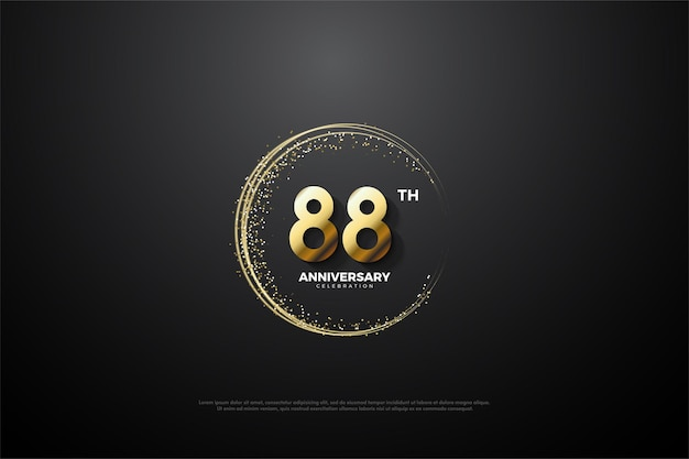 88. jubiläum mit runden goldenen zahlen und sand