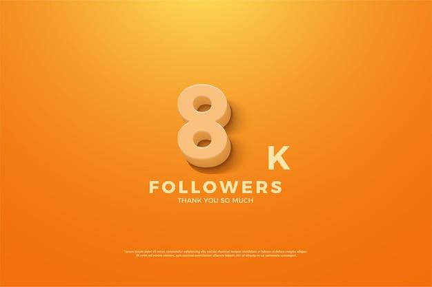 8k follower mit animierter nummer auf orange