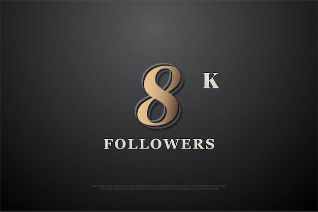 8k follower mit metallischer zahl