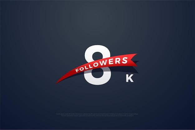 8k follower nach anzahl mit spitz zulaufendem rotem band