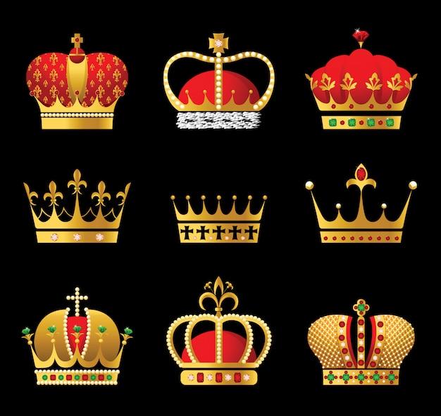 9 goldene und rote kronensymbole